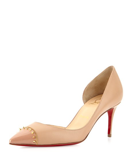 Christian Louboutin Nude Spiked Half D'orsay Red Sole Pumps Size US 9.5 Regular (M, B)
