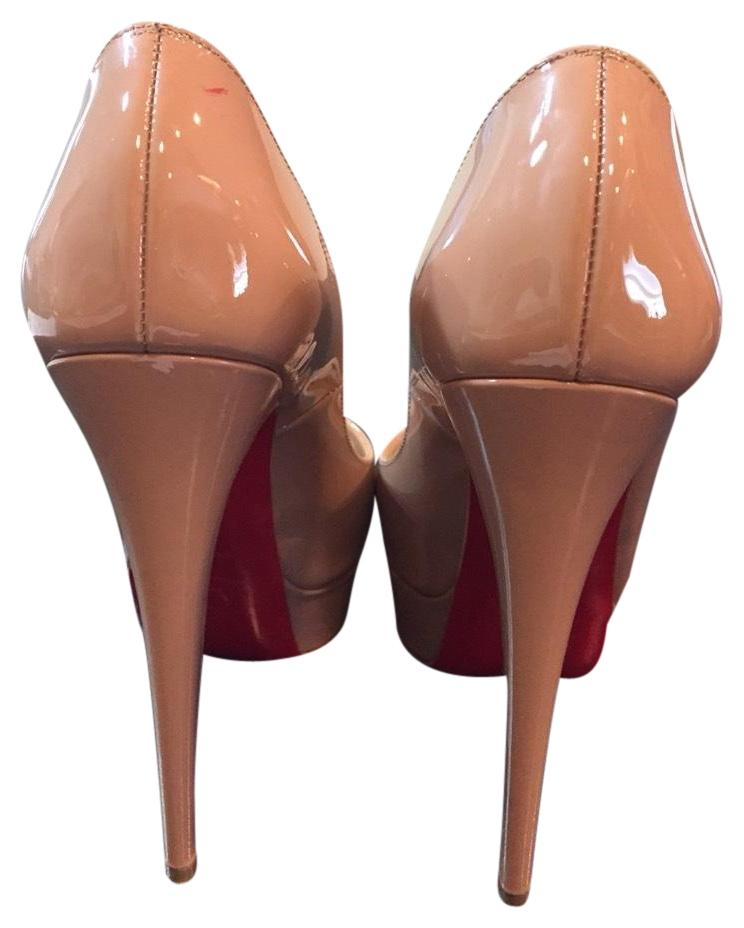 Christian Louboutin Nude/Red Lady Peep Patent Sole Pumps Size US 6.5 Regular (M, B)