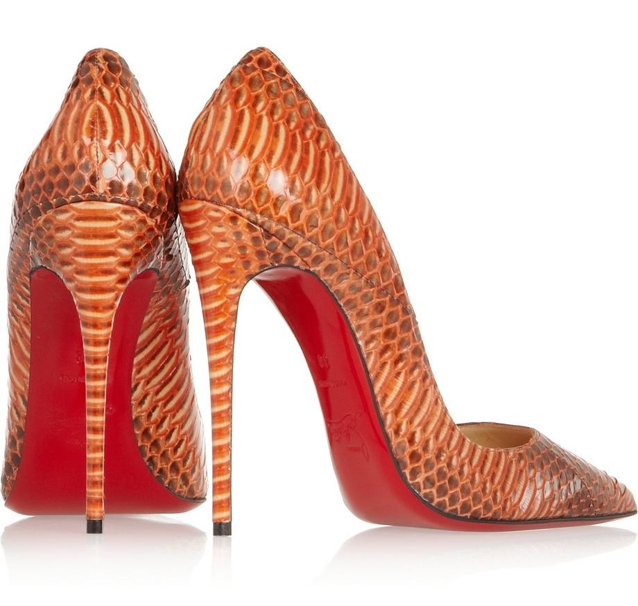 a4fcf3feac0 Christian Louboutin Orange Papaye New So Kate 120 Watersnake Rocaille 35.5  Pumps Size US 5.5 -
