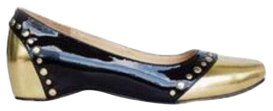 Christian Louboutin Patent Black and Gold Leather Mousse Clou Flats