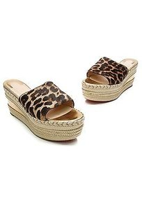 Christian Louboutin Calf Hair Leopard, beige, gold Sandals