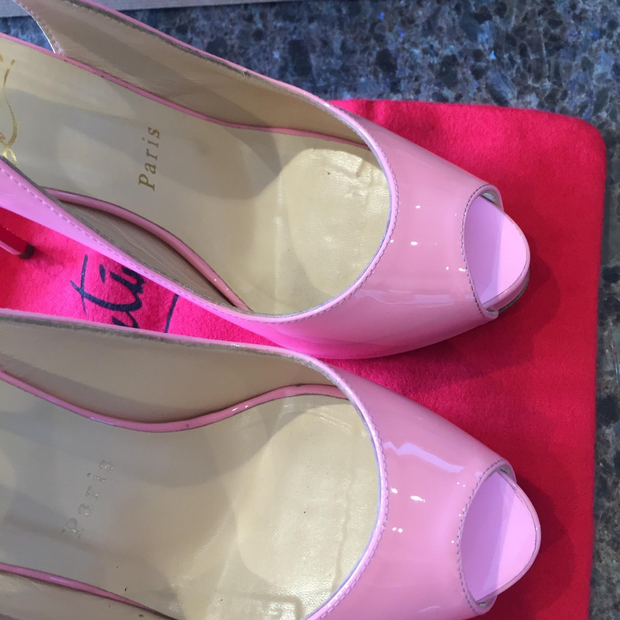 f53e9bc0835 Christian Louboutin Private Number Pink Patent Rose Platform ...