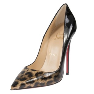 Christian Louboutin Follie Black Leopard Patent Leather Pumps Boots
