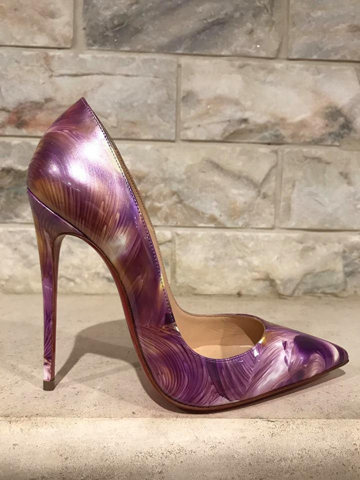 016c123561ca Christian Louboutin Purple So So So Kate 120 Petale Patent Leather Heel 37  Pumps Size US 7 Regular (M