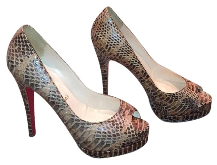 Christian Louboutin Python Peep Toe Platforms Size US 7.5 Regular (M, B)