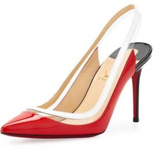 Christian Louboutin Red Black White Paulina Sling 85 Patent ...