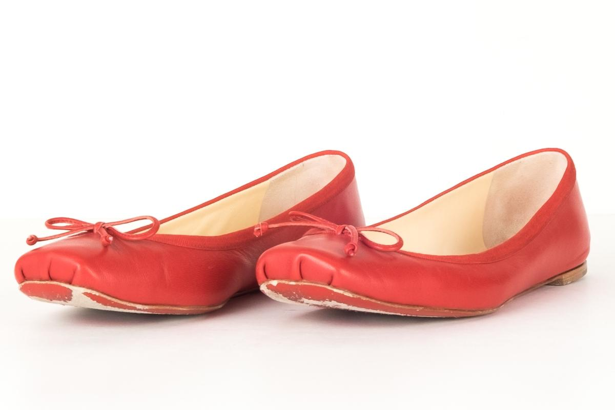 81857ab265b7 US Christian Louboutin Red Red Red Leather Rosetta Square Flats Size EU  37.5 (Approx.