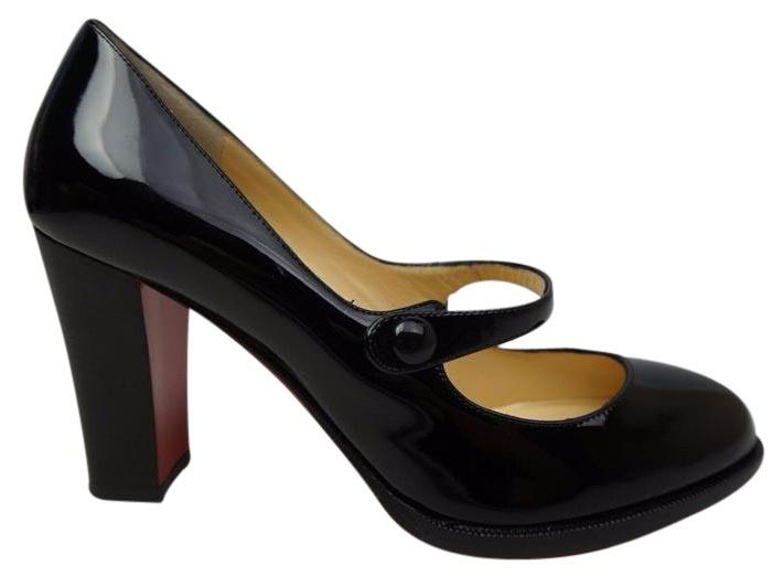 Christian Louboutin Red Top Street Mary Jane 85 Black Patent Pumps Size US 6.5 Regular (M, B)