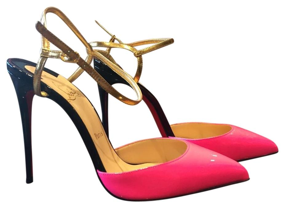 fcdb8b27c9 Christian Louboutin Rivierina Shocking Pink Black Black Black Gold Patent Stiletto  36 Pumps Size US 6