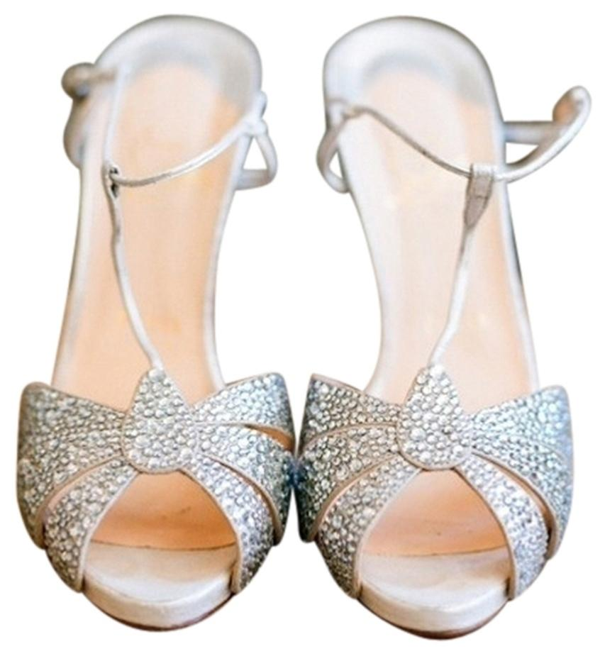 Christian Louboutin Silver and Crystal Margi Diams Strass/Napa 39 Sandals Size US 9 Regular (M, B)
