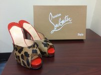 Christian Louboutin Slim Heel Red Casual Platform Leopard Mules