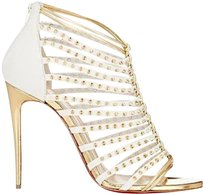 Christian Louboutin Studded Strappy Millaclou Caged White/Gold Sandals