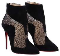 Christian Louboutin Suede Mesh Black Boots