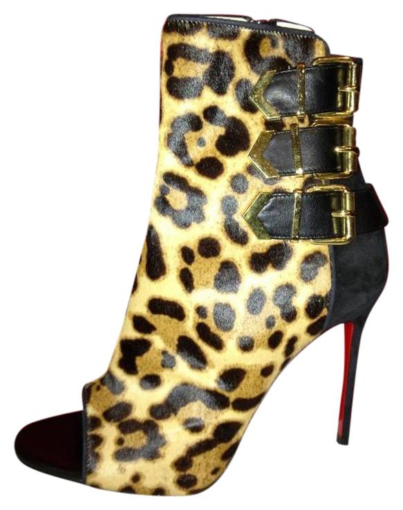 Christian Louboutin Triboclou Pony Leopard Suede Buckle Open Heel 35.5 Boots/Booties Size US 5.5