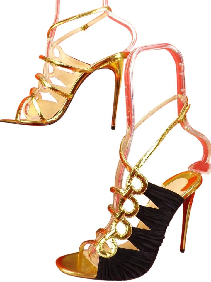 Christian Louboutin Version Gold/Black Tina Cage 100 Patent Leather Suede Sandals 39.5 Pumps Size US 9.5 Regular (M, B)
