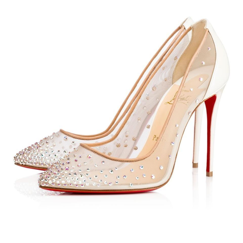 7ab4d3309032 ... 50% off christian louboutin follies pigalle strass crystal stiletto  white pumps 9ee19 3454c