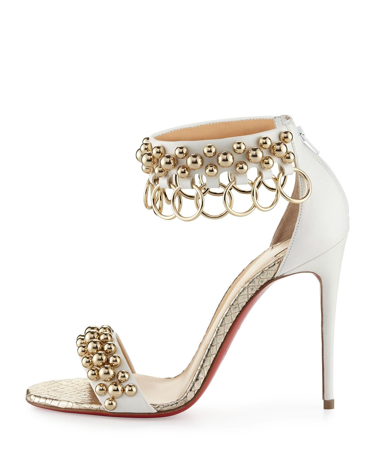 Christian Louboutin Sandals Gypsandal Size 38 White Gold Pumps ...