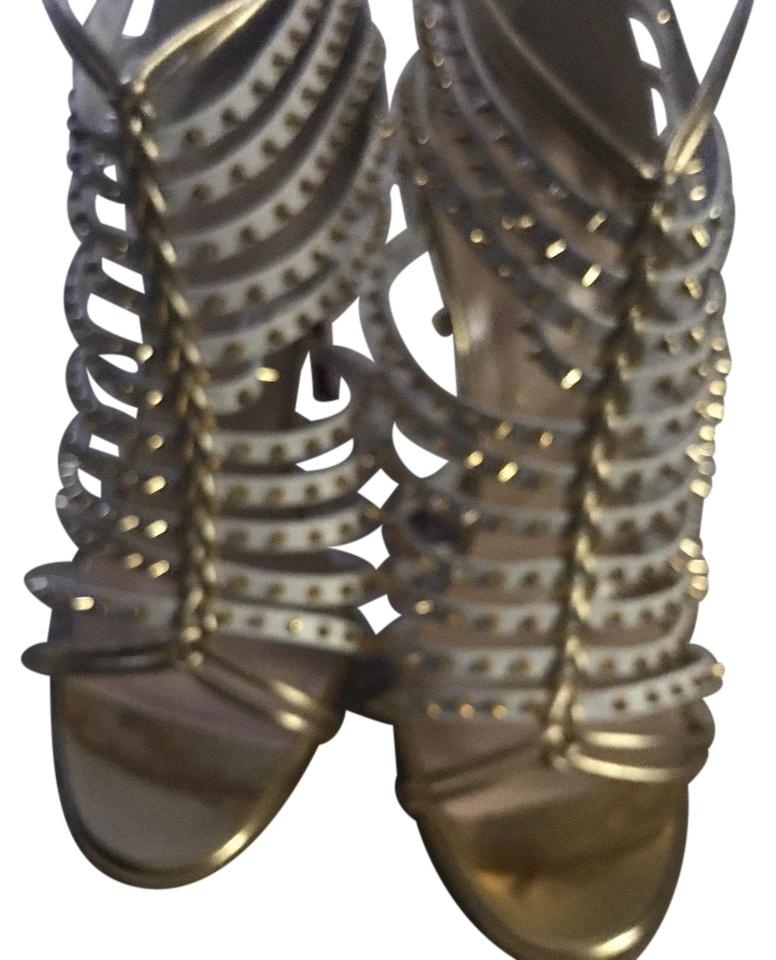 Christian Louboutin White /Gold Spiked Boots/Booties Size EU 37.5 (Approx. US 7.5) Regular (M, B)