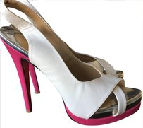 Christian Louboutin white, pink, gold Platforms