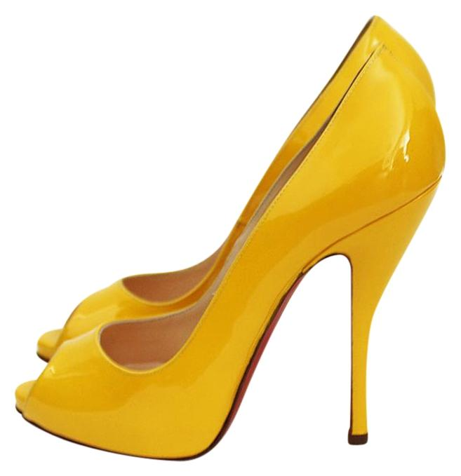 4dcba1e168 ... official store christian louboutin patent leather classic yellow pumps  fc840 7d9d1