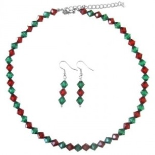 Christmas Gift Crystals Green & Red Necklace Earrings Jewelry Set