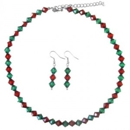 Red/Green Christmas Gift Crystals Necklace Earrings Jewelry Set
