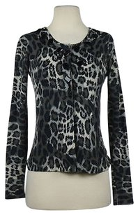 Christopher Fischer Womens Animal Print Cardigan Casual Sweater