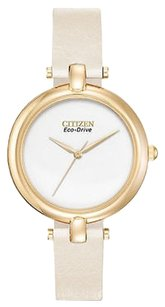 Citizen Citizen Eco-drive Silhouette Gold Tone Leather Womens Watch Em0252-06a Sd