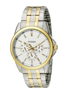 Citizen Citizen Mens 2-tone Stainless Steel Bracelet Multifunction Watch Ag8344-57a