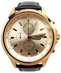 Citizen Citizen Mens An3512-03p Gold-tone Stainless Steel Watch With Black Leather Band