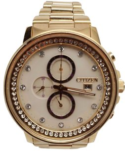 Citizen Citizen Eco-drive Ladies Nighthawk Champagne Crystal Gold Tone Watch Fb3002-53p