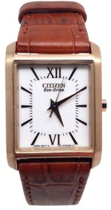 Citizen Citizen Womens Ep5918-06a Eco-drive Brown Leather Gold Tone Square Dress Watch