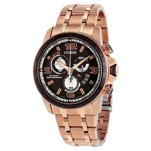 Citizen Eco Drive Chrono Time A-T Black Dial Gold-tone Men's Watch