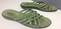 Clarks White Stitch Accented Leather Slip On Flat B3236 Green Sandals