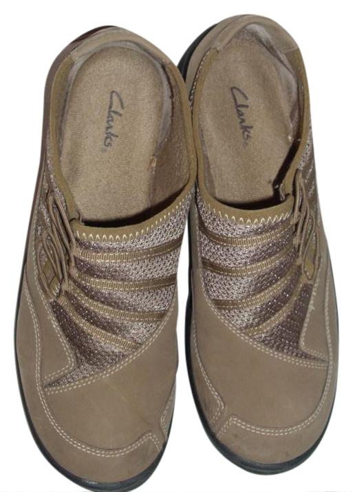 Clarks Light Brown Leather/Mesh Sneakers Walking Shoes Size 8
