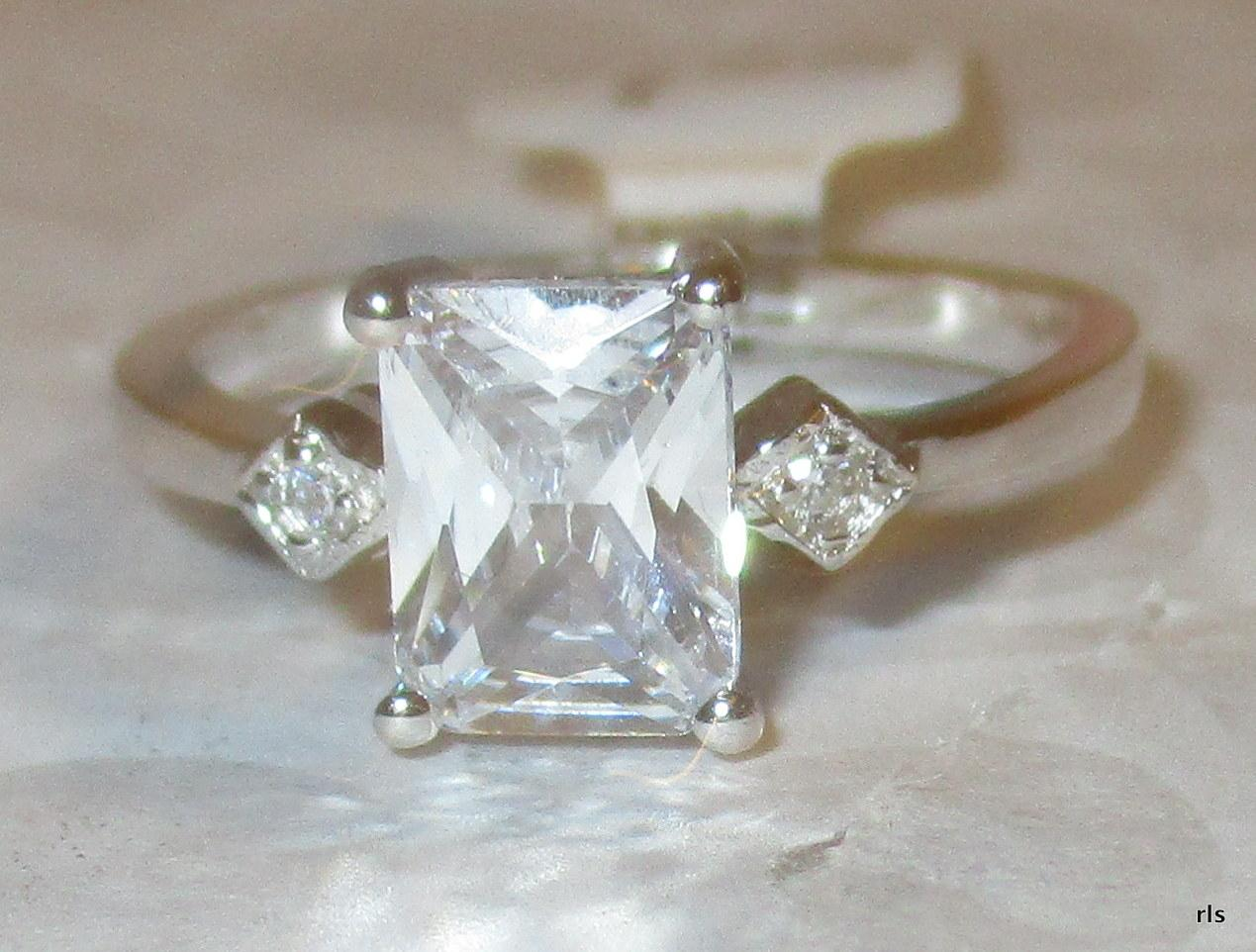 Clear Sterling Silver 2ct Emerald Cut Simulated Diamond Wedding Size