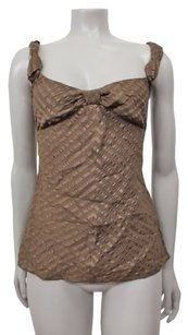 Club Monaco Silk Twisted Knot At Bust Sp Top Brown