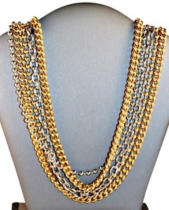Coach Coach Multi Media Strands Gold And Silver Tone Large Signature Clasp Necklace New