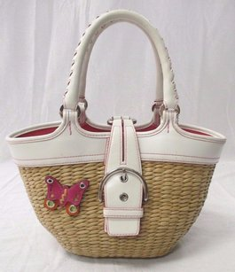 Coach Straw Butterfly W Leather Pink Stitching 6270 Tote in Ivory and tan