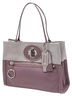 Coach Purple Leather Tote in Purple, gray