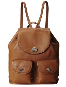 Coach 35303 Saddle Refined Pebble Leather Turnlock Tie Rucksack Brown Messenger Bag