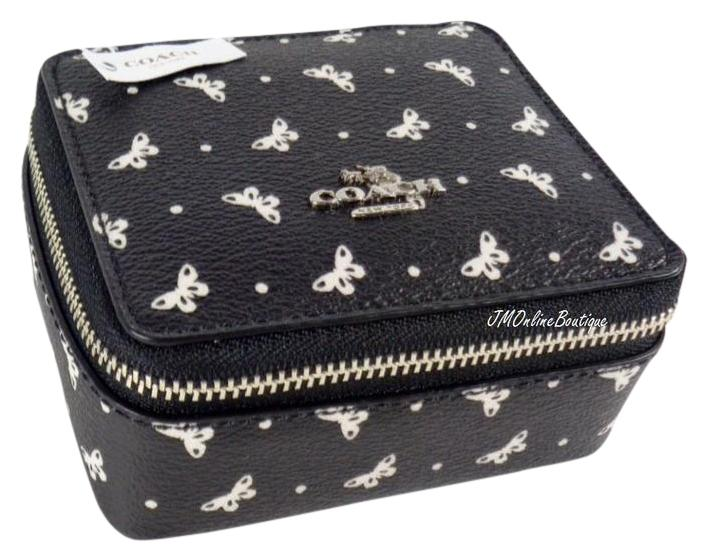 Coach BlackSilver F59785 Butterfly Travel Jewelry BoxHolder Case
