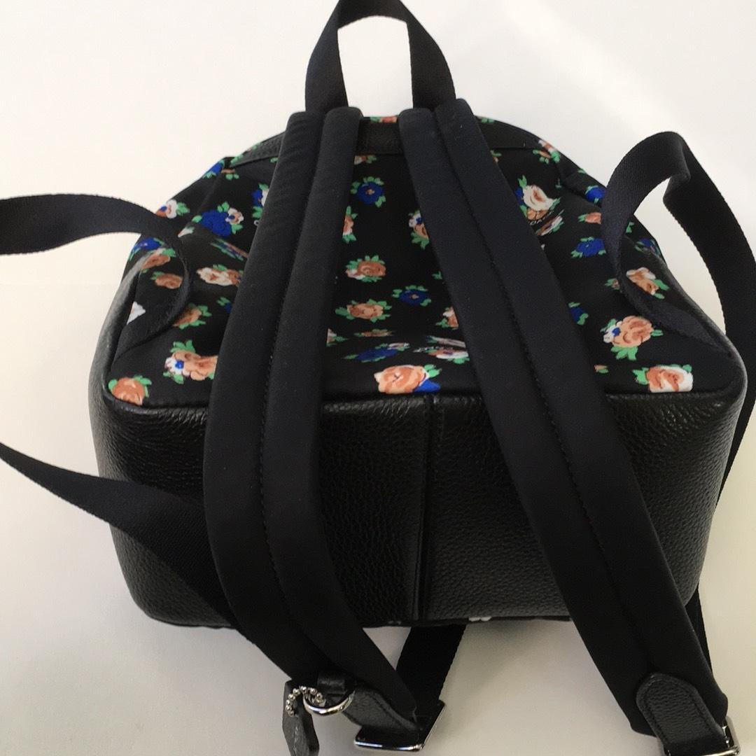 2ae31753ba6a ... inexpensive coach charlie wolf new black with flower print fabric and leather  backpack tradesy 7246d aa6ff