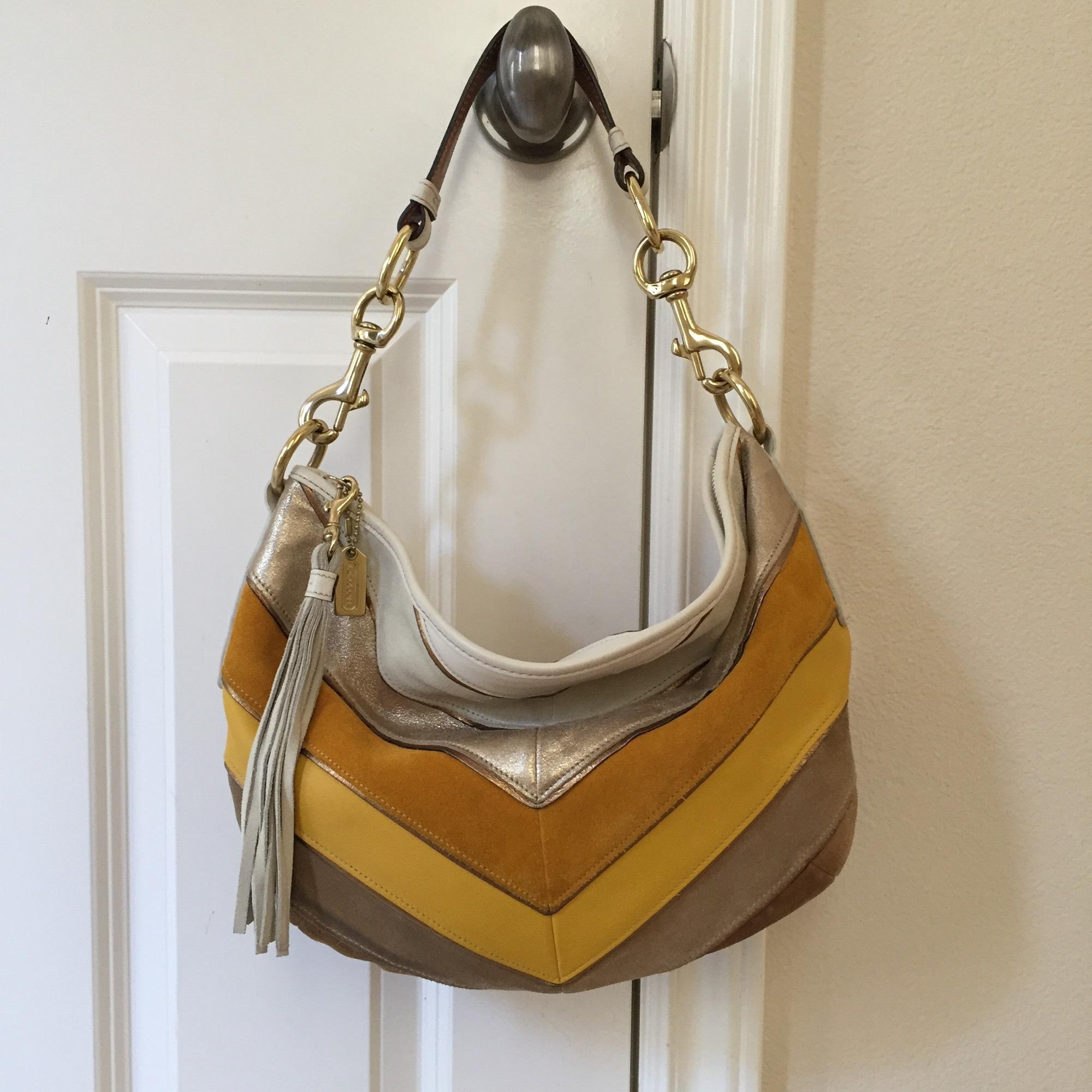 f2b7ba014f49 ... greece coach chevron ivory yellow brown leather hobo bag tradesy a366d  5f51b ...