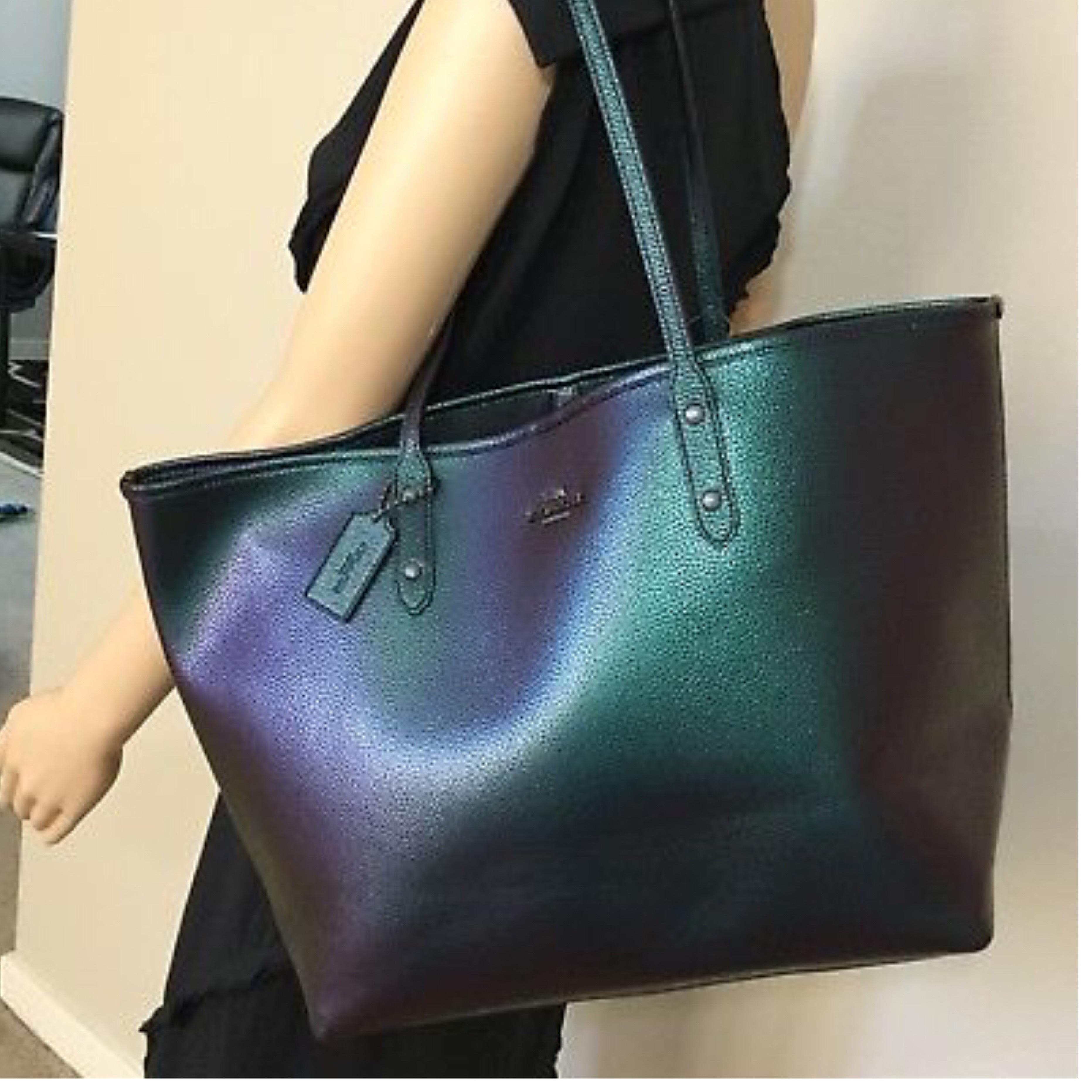 ed9ceaad6be91 ... where to buy coach city hologram pebble leather open tote tradesy c7151  6d3e4