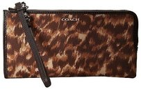 Coach Coach 52099 Bleecker Brown Ocelot Faille Jacquard Zippy Wristlet Wallet