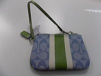 Coach Coach Blue Green Pvc Signature Casual Wristlet Coin Purse B2615