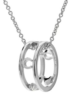 Coach COACH SILVER PLATED RHINESTONE PAVE PENDANT RING NECKLACE NWT