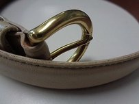 Coach Coach Stitched Beige Belt W Gold Buckle And Four Holes Leather B3265