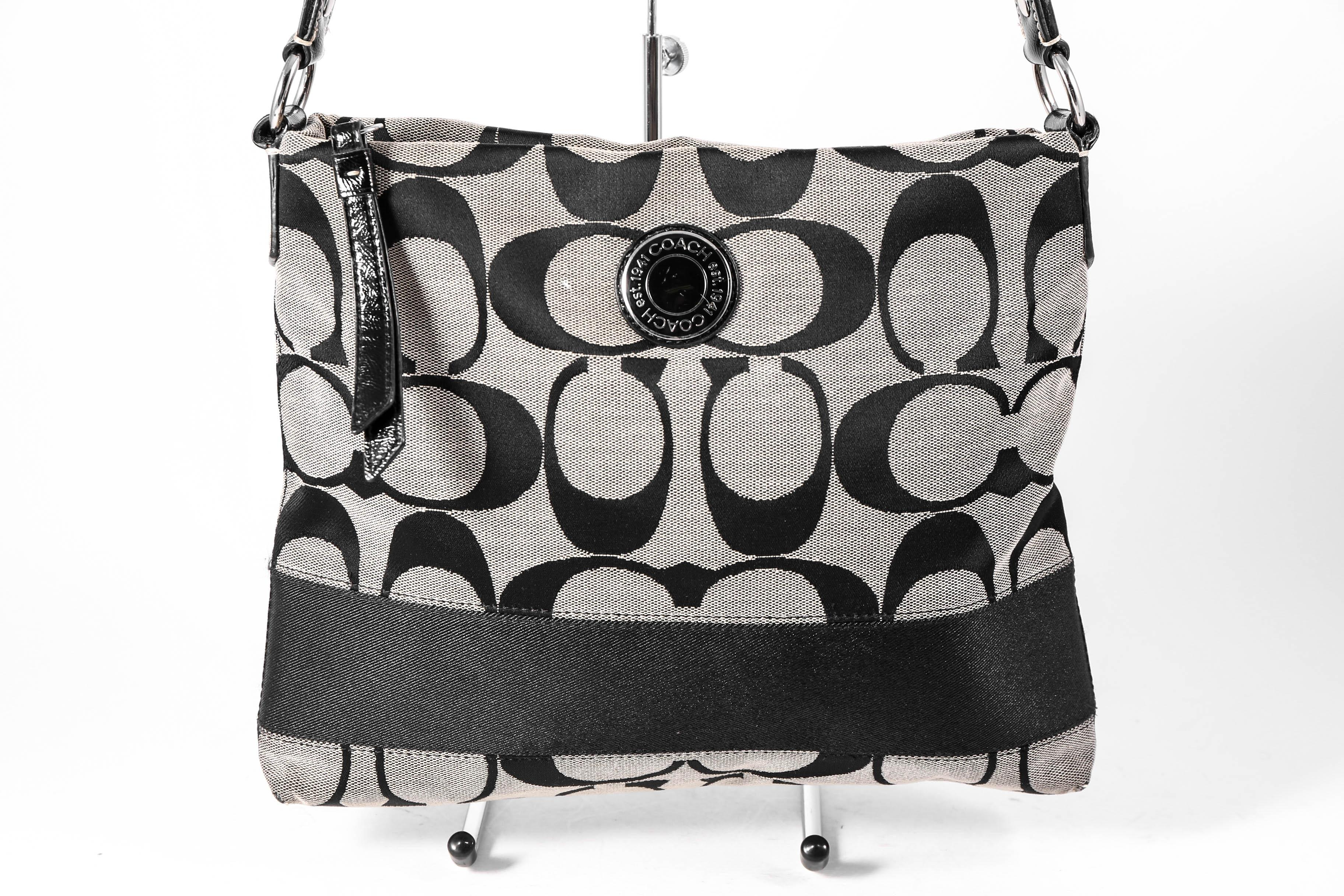 black and gray coach bag 7o03  Coach Crossbody Canvas Monogram Shoulder Bag